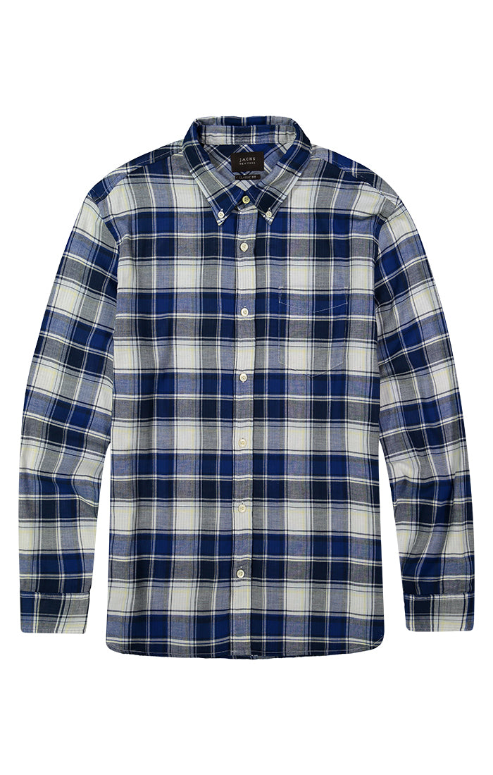 Blue Stretch Double Face Shirt - JACHS NY