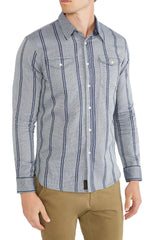 Grey Striped Textured Chambray Shirt - jachs