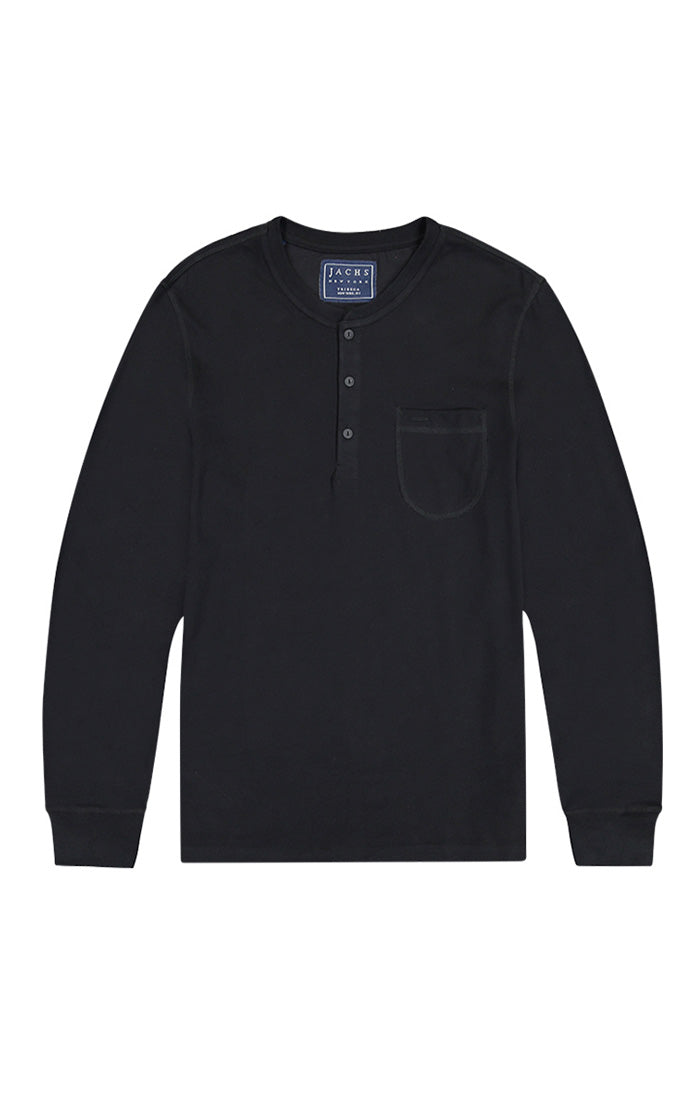 Jet Black Sueded Cotton Long Sleeve Henley - jachs