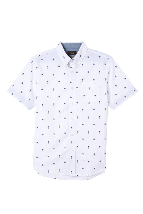 Palm Tree Print Short Sleeve Oxford Shirt