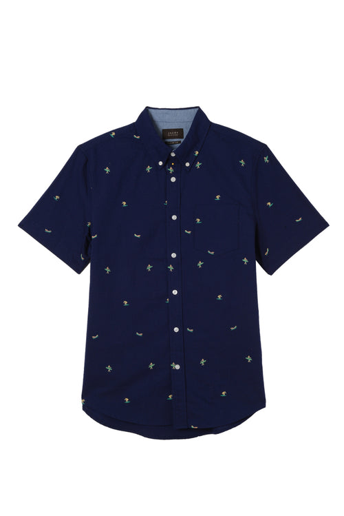 Surfer Print Short Sleeve Oxford Shirt