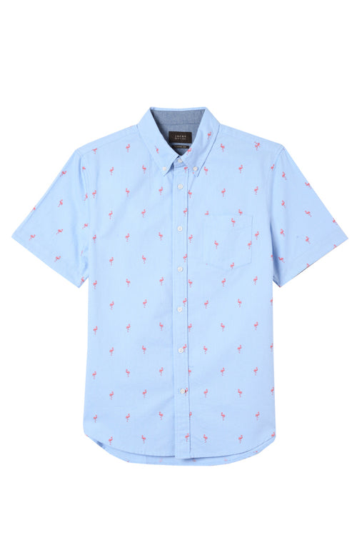 Flamingo Print Short Sleeve Oxford Shirt