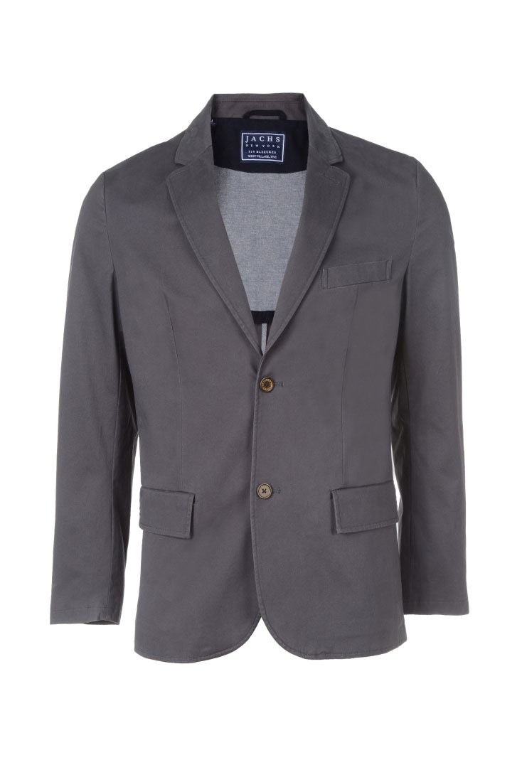Charcoal Stretch Sateen Blazer
