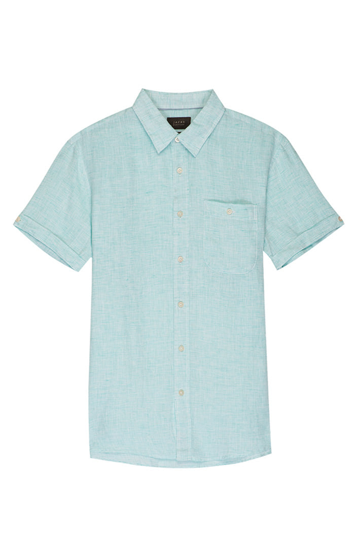 Teal Striped Linen Short Sleeve Shirt - jachs