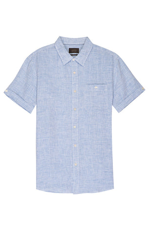 Teal Striped Linen Short Sleeve Shirt