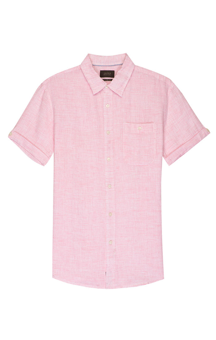 Pink Striped Linen Short Sleeve Shirt - jachs