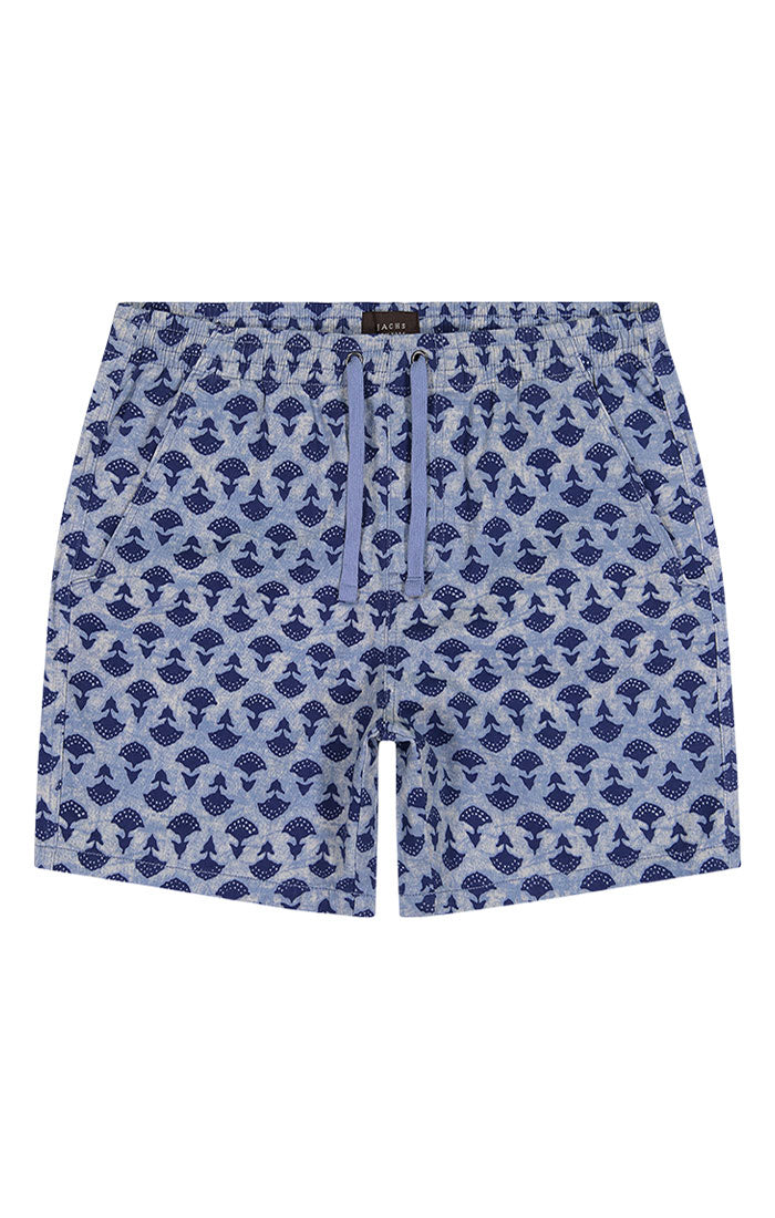 Light Blue Printed Stretch Twill Pull On Dock Short - jachs