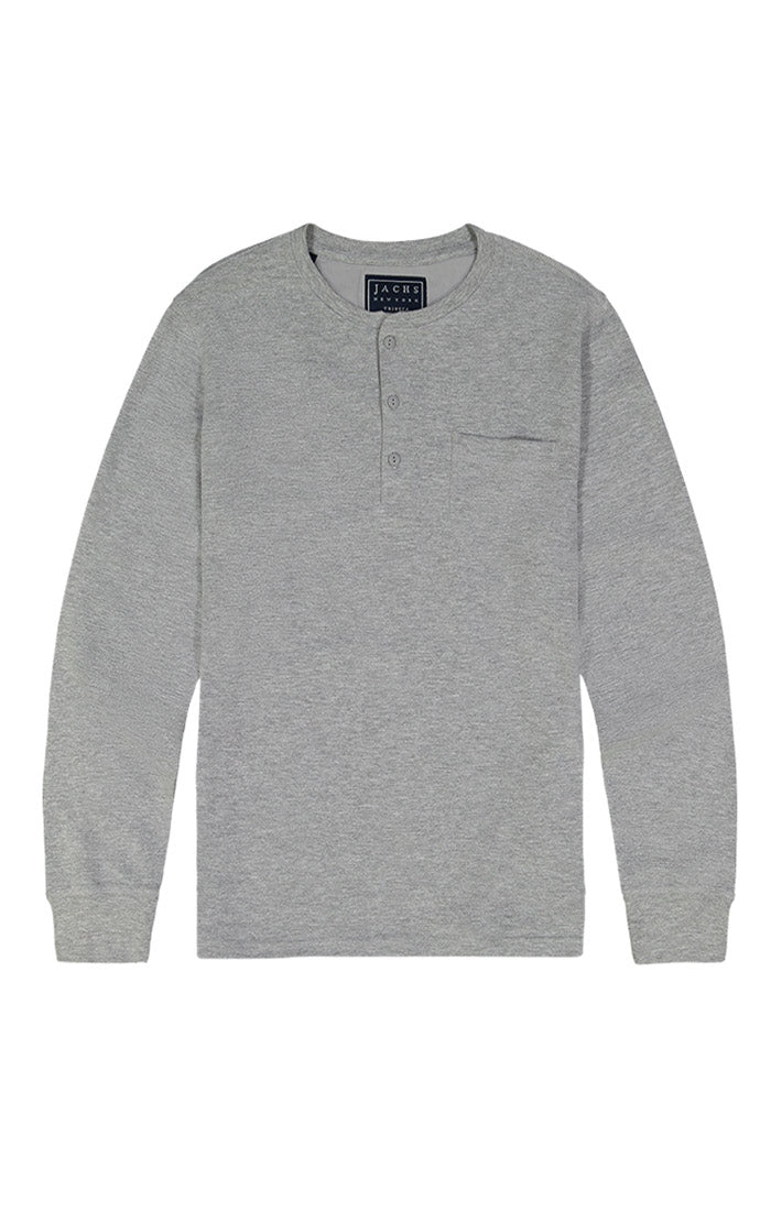Light Heather Grey Waffle Long Sleeve Henley - jachs