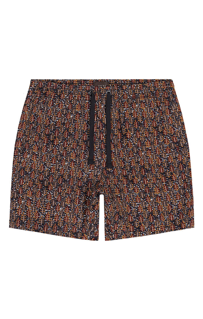 Leaf Print Stretch Twill Pull On Dock Short