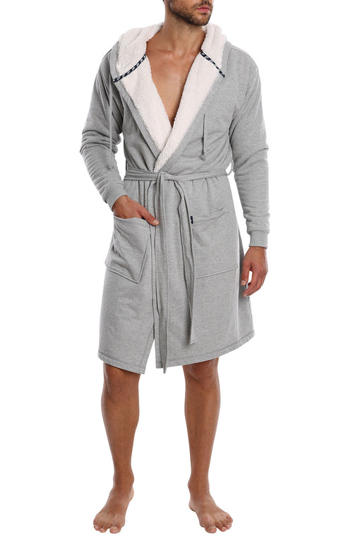 Grey Sherpa Lined French Terry Robe