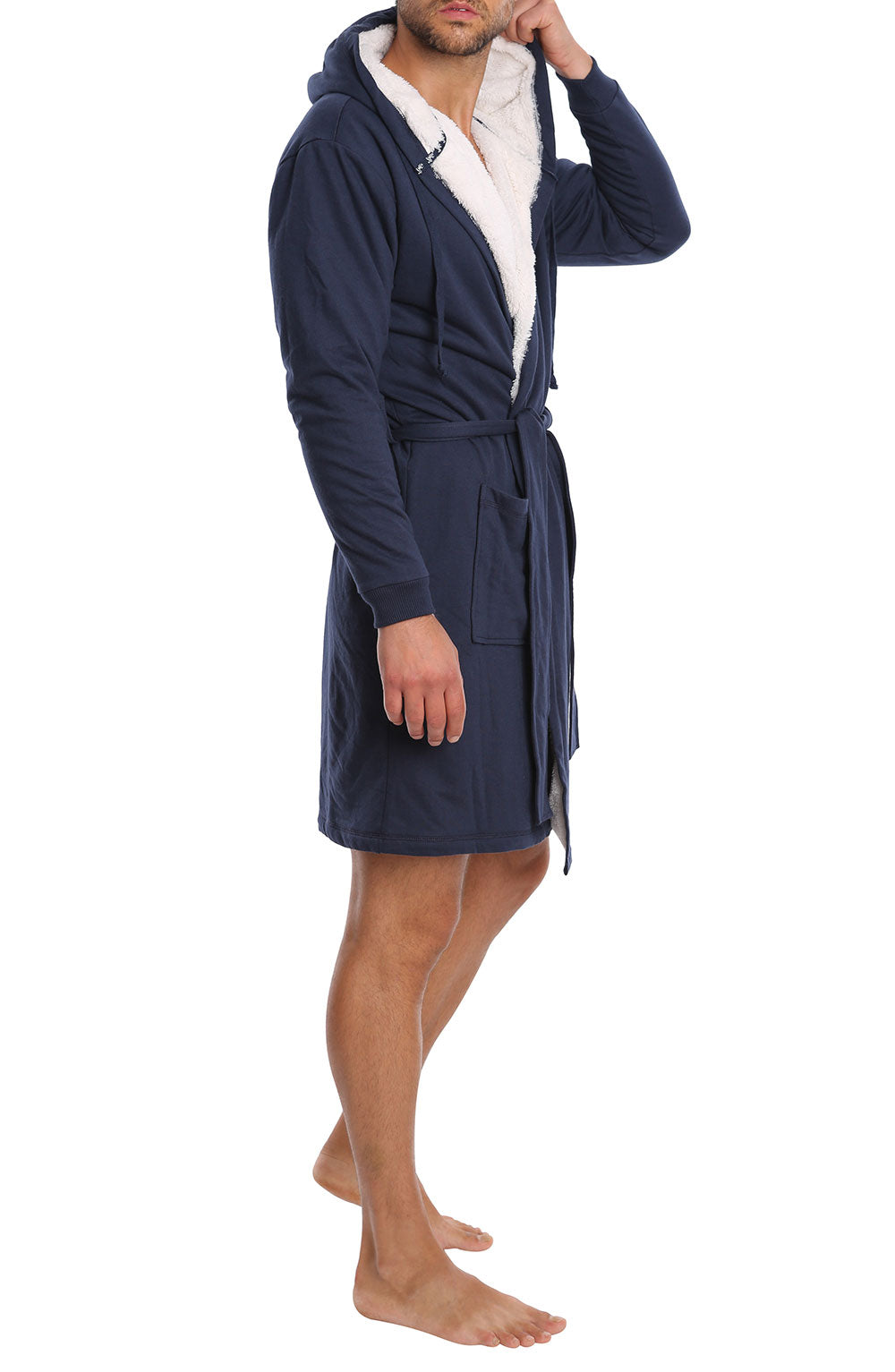 Navy Sherpa Lined French Terry Robe