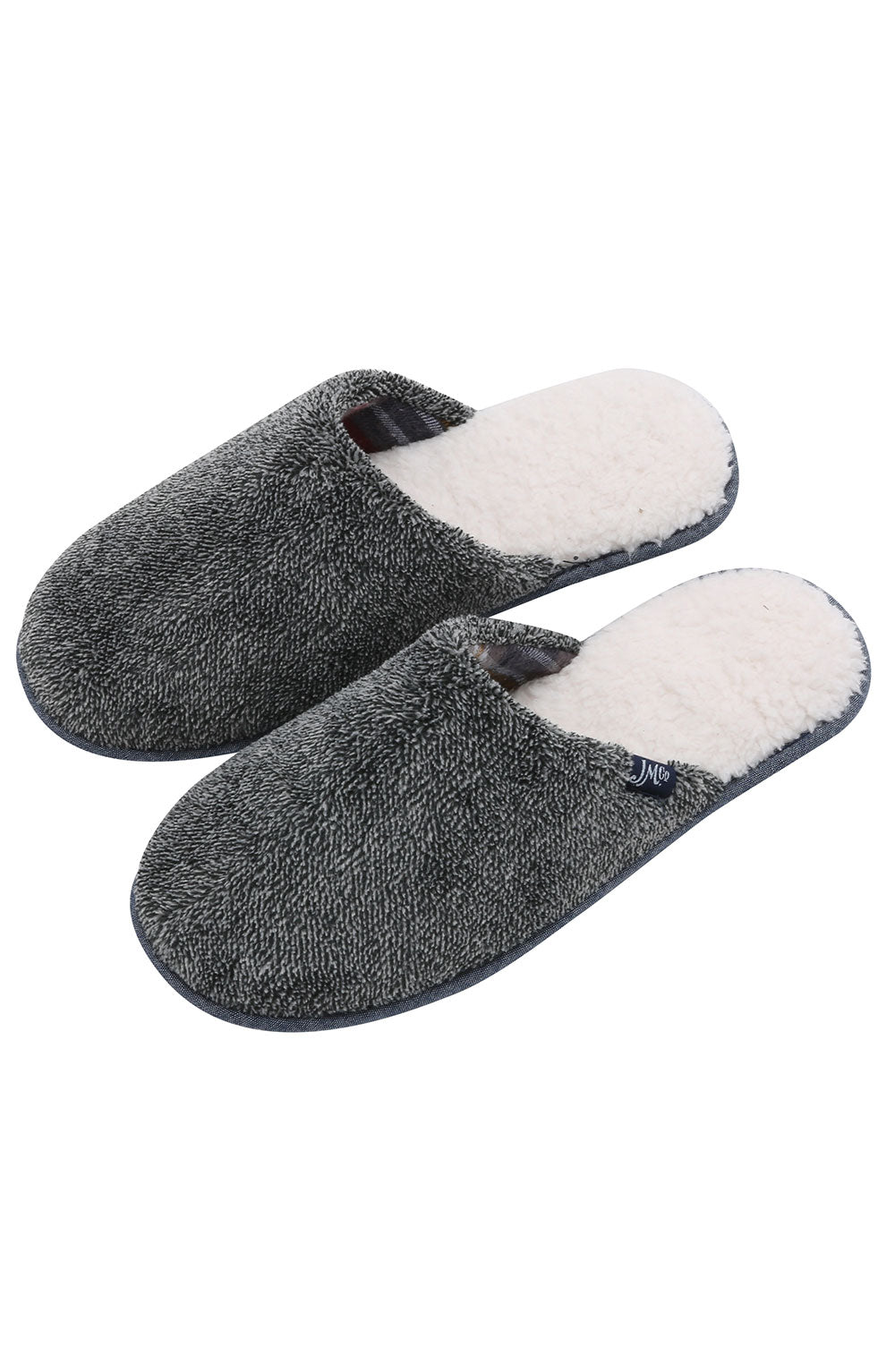 Grey Sherpa Slipper with Memory Foam