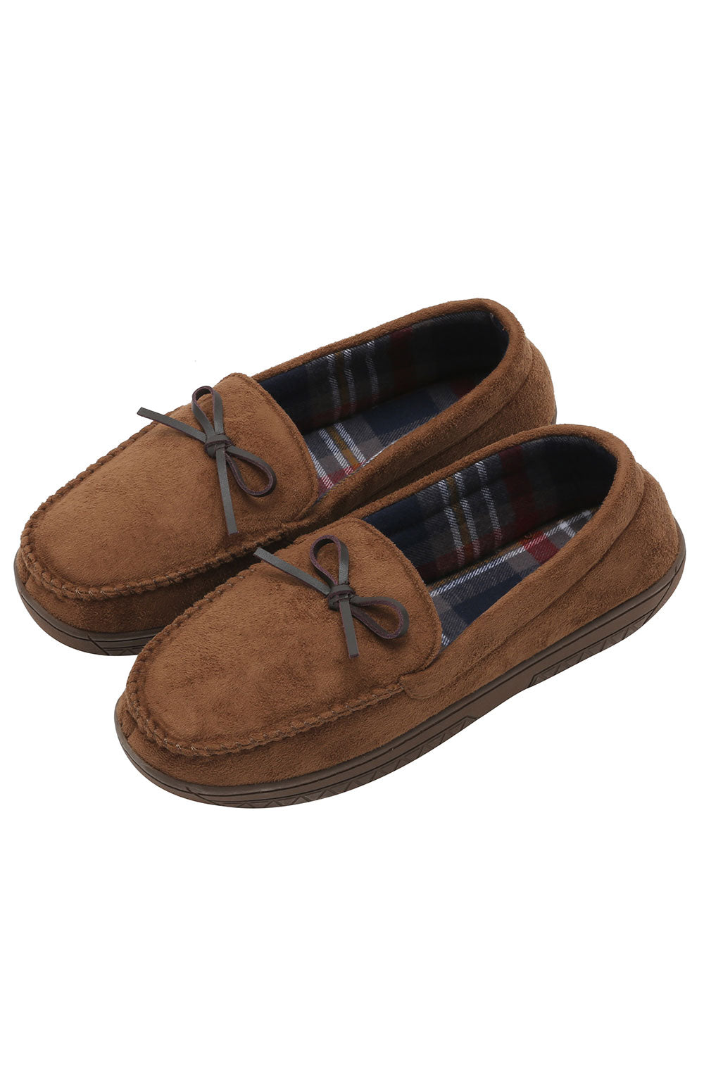 Brown Faux-Suede Moccasin Slipper