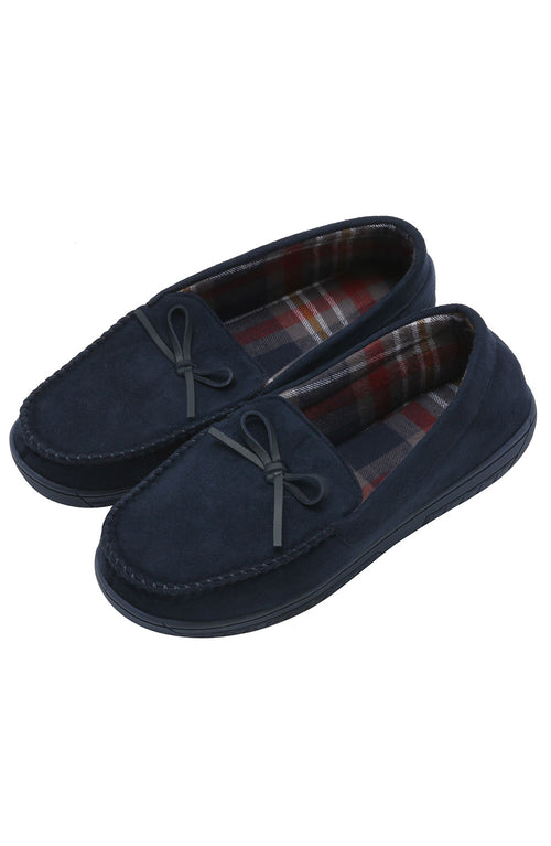 Navy Faux-Suede Moccasin Slipper
