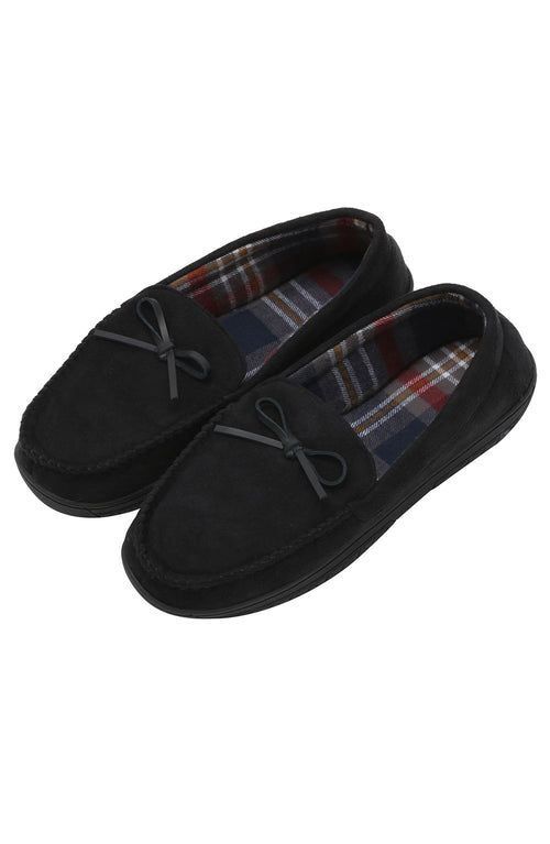 Black Faux-Suede Moccasin Slipper