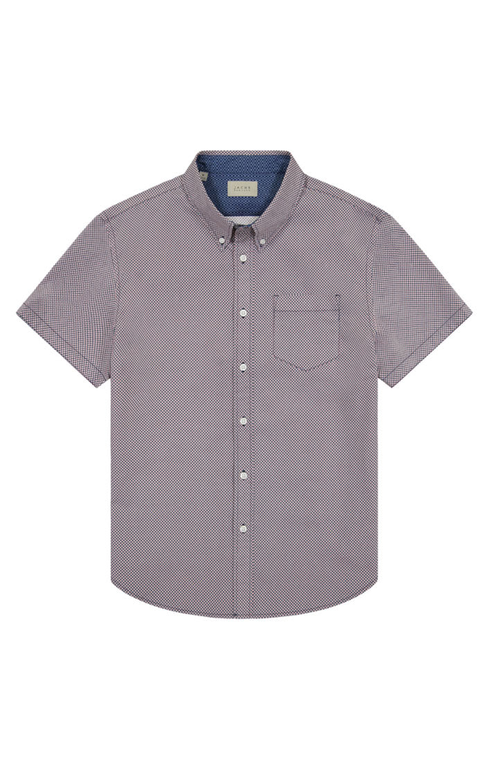 Micro Diamond Print Short Sleeve Tech Shirt - jachs