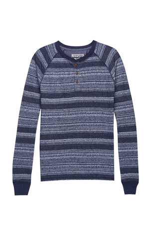 Blue Linen TriBlend Long Sleeve Henley