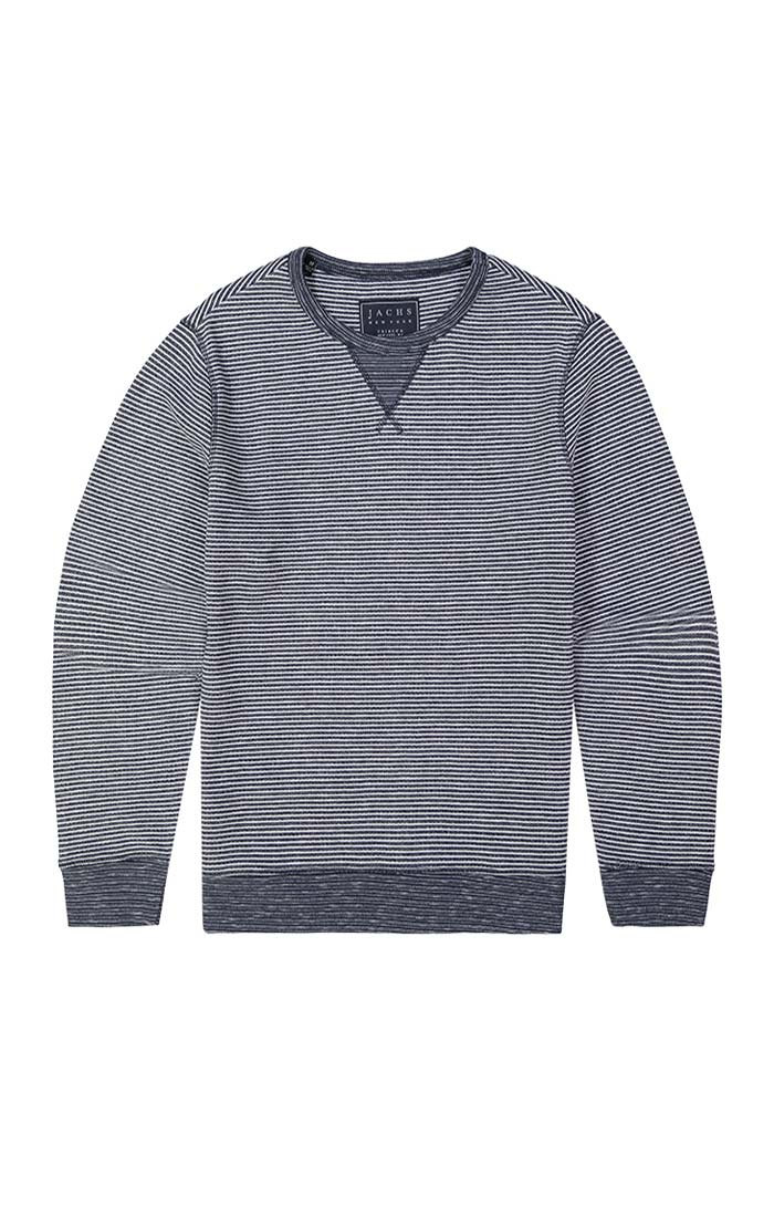 Navy Striped Fleece Crewneck Sweatshirt