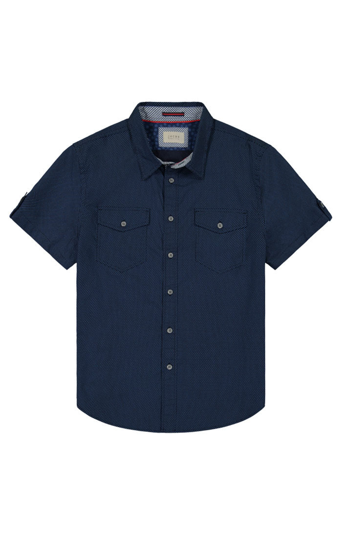 Navy Micro Dot Print Short Sleeve Tech Shirt - JACHS NY