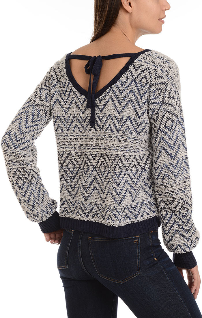 Chevron Pullover Sweater with Back Tie - jachs