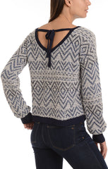 Chevron Pullover Sweater with Back Tie