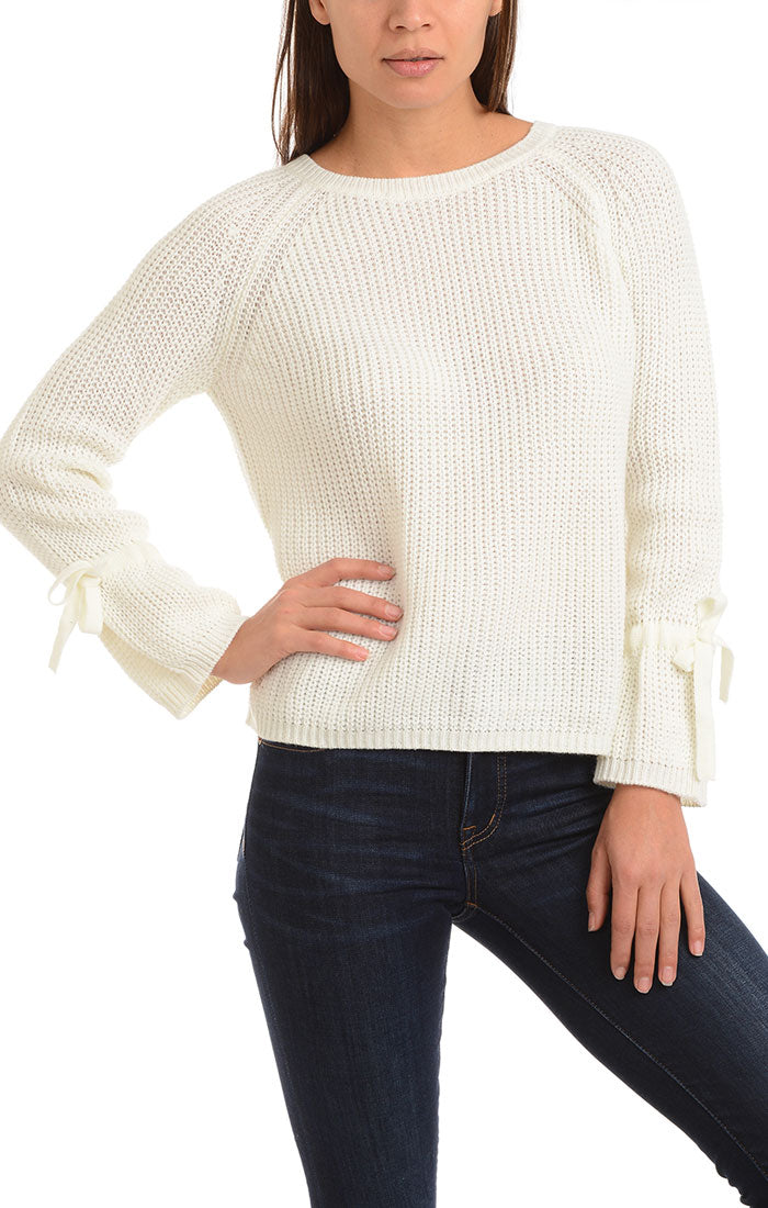 Ivory Rib Knit Sweater with Bell Sleeves