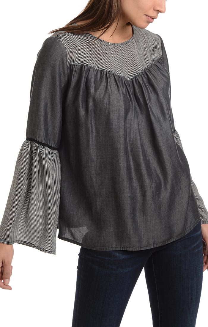 Mixed Media Blouse with Flounce Sleeves - jachs