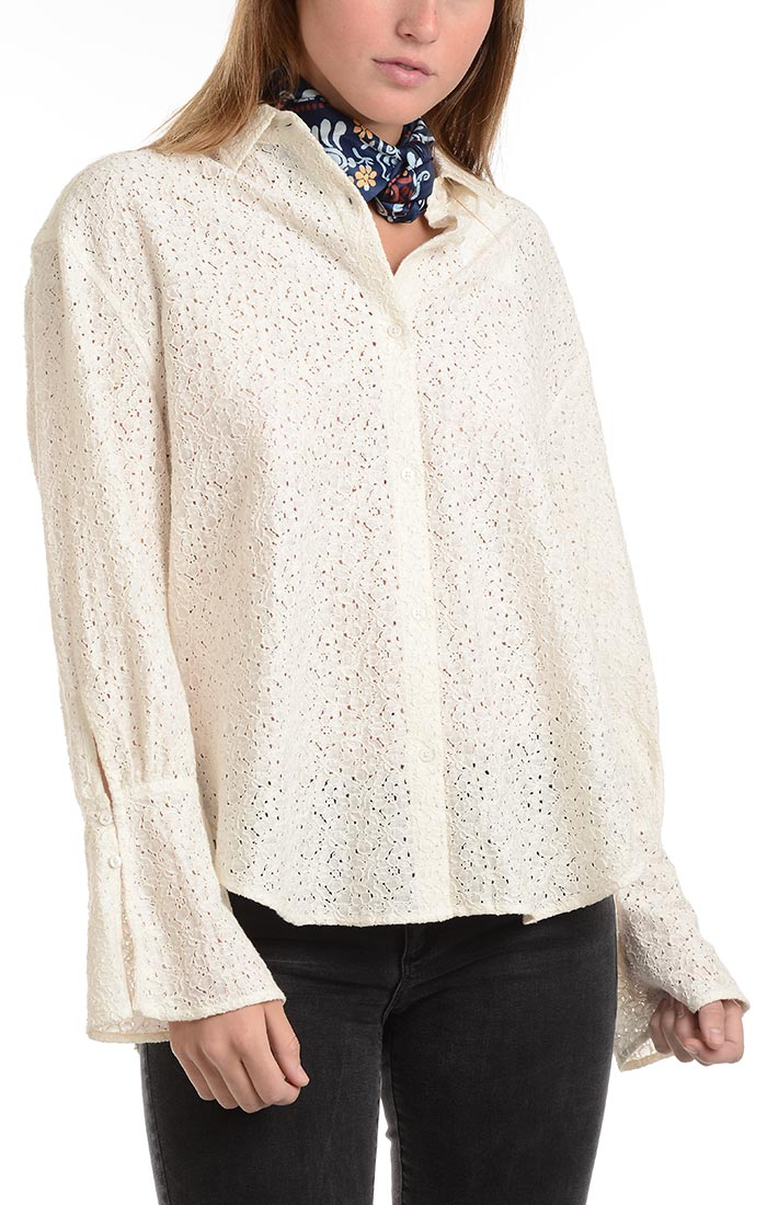 Oversized Lace Hi Low Shirt