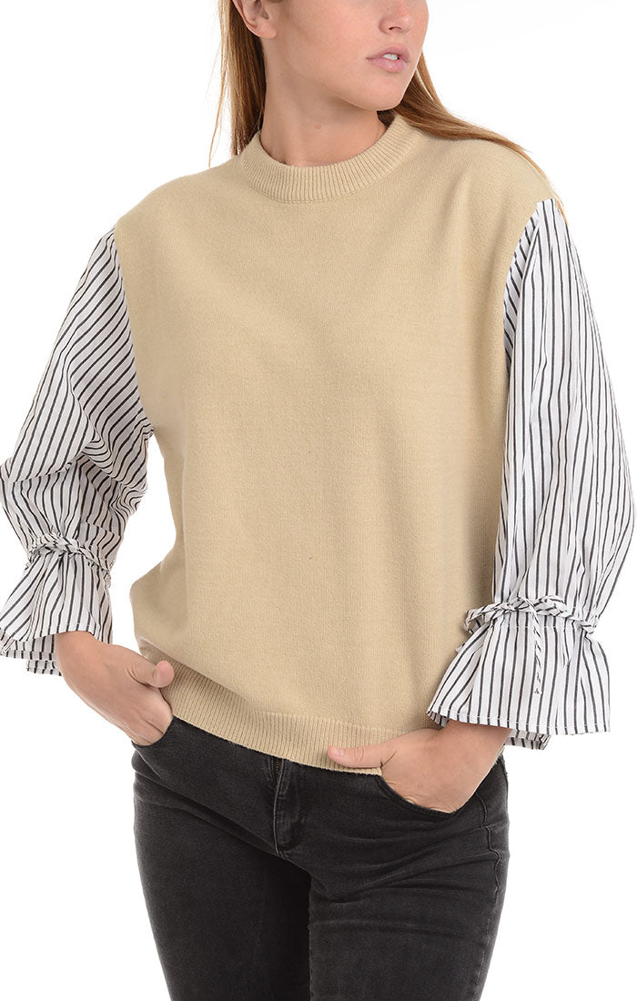 Beige Wool Blend Mixed Media Sweater