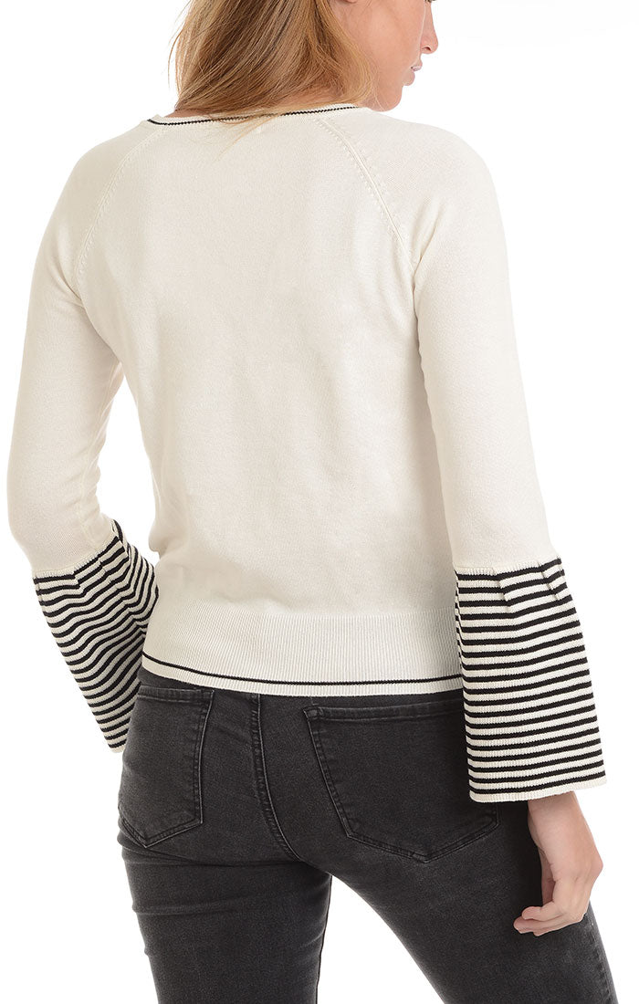 White Bell Sleeve Pullover Sweater - jachs