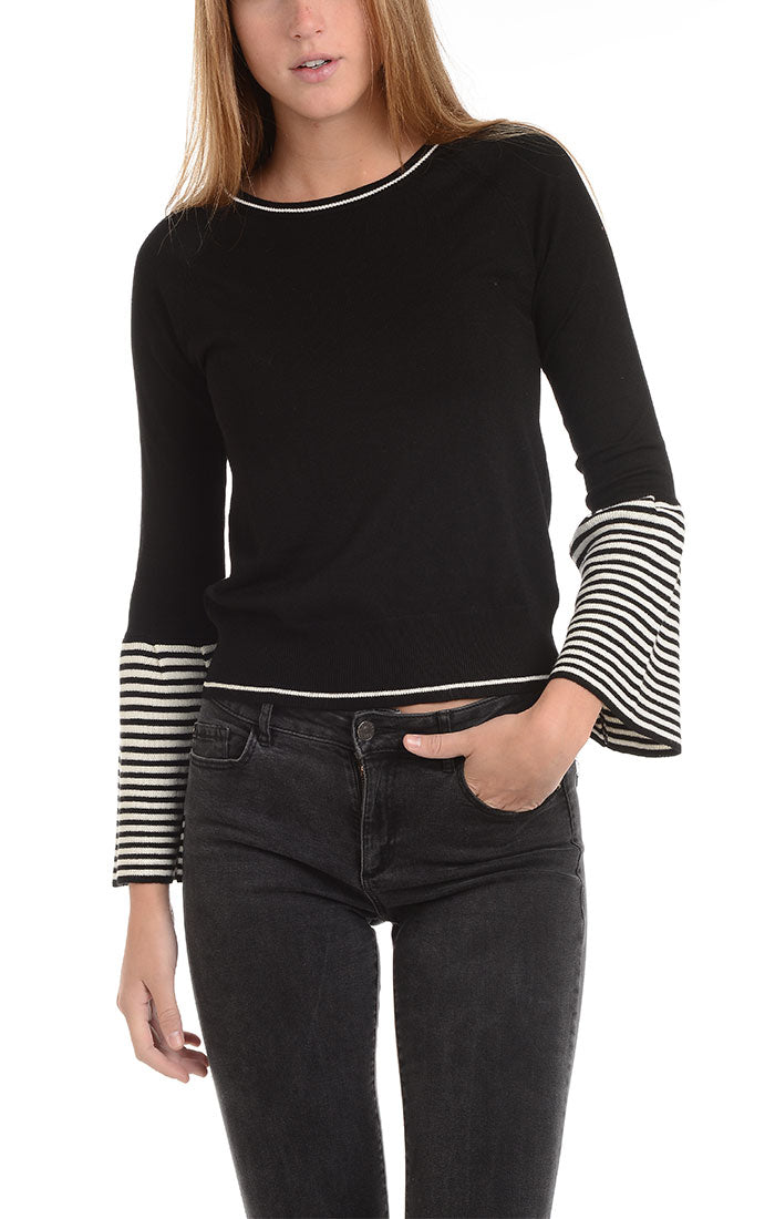 Black Bell Sleeve Pullover Sweater - jachs