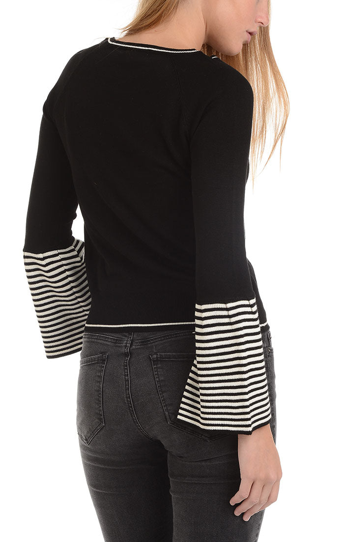 Black Bell Sleeve Pullover Sweater - JACHS NY