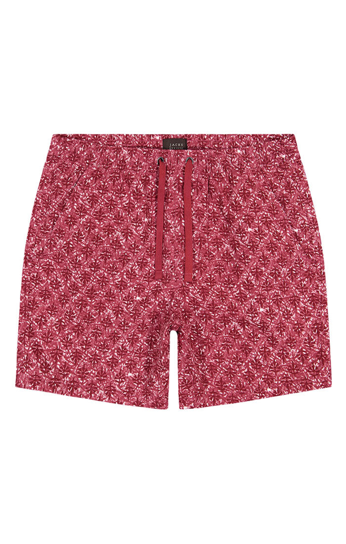 Red Printed Stretch Twill Pull On Dock Short
