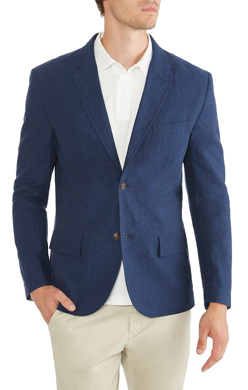 Navy Cotton Linen Herringbone Blazer