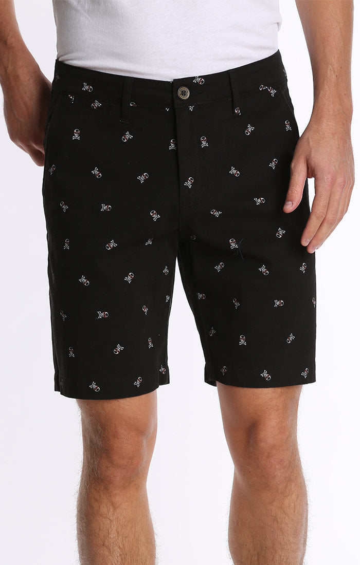Black Skull Print Stretch Chino Short - jachs