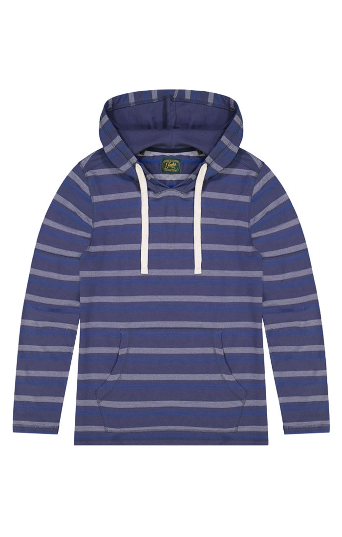 Blue Herringbone Stripe Hooded Pullover - jachs