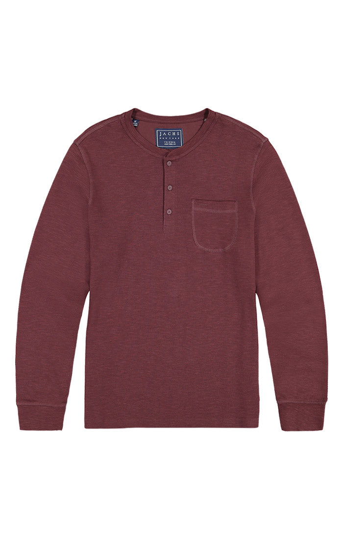 Shopping Bag Waffle Long Sleeve Henley - JACHS NY