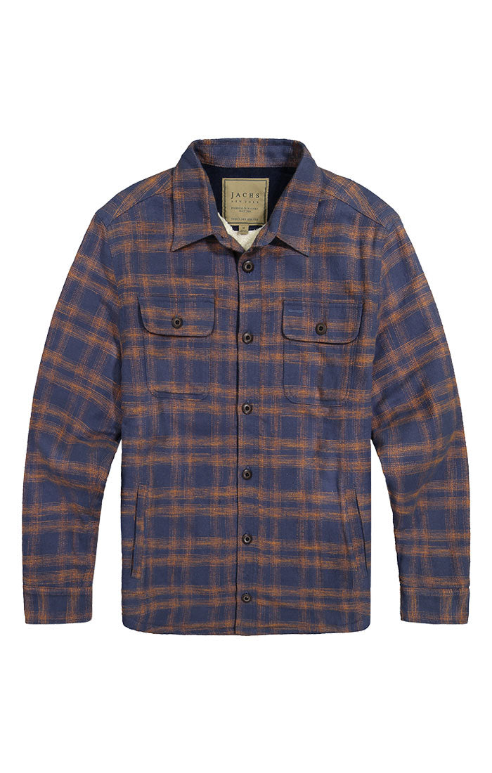 Navy Sherpa Lined Flannel Shirt Jacket - jachs