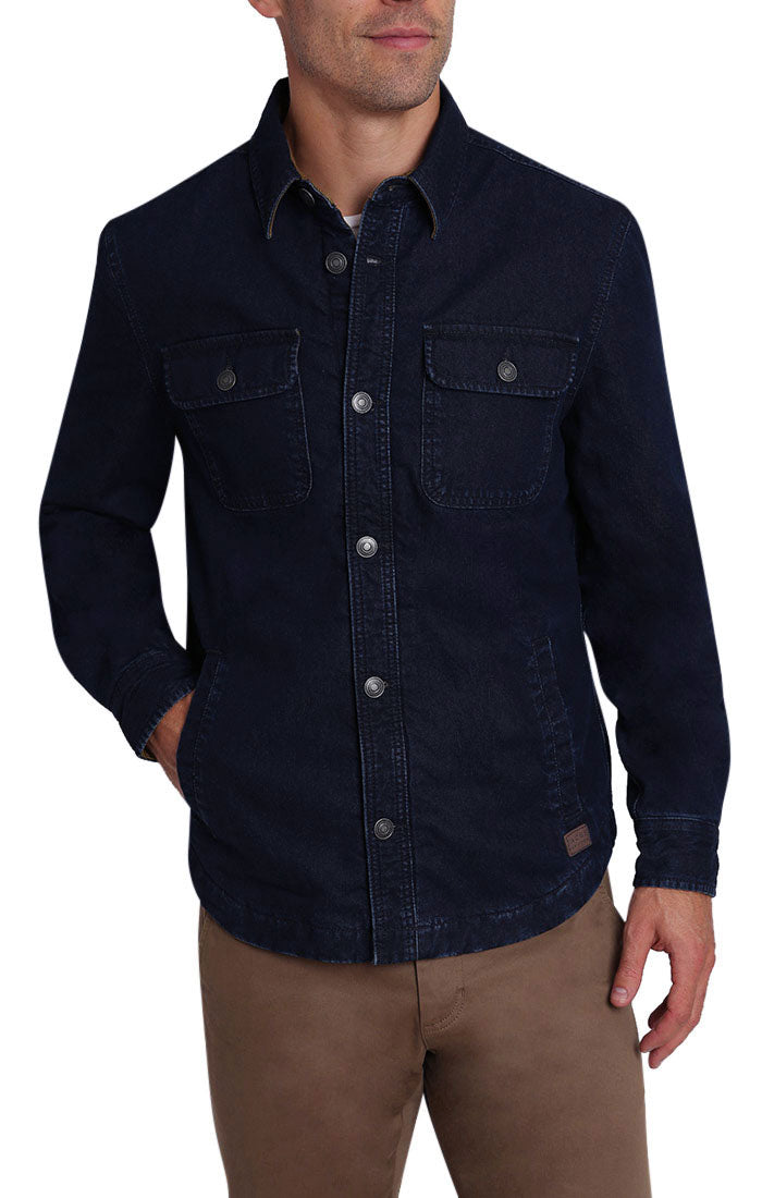 Denim Stretch Flannel Lined Shirt Jacket - jachs