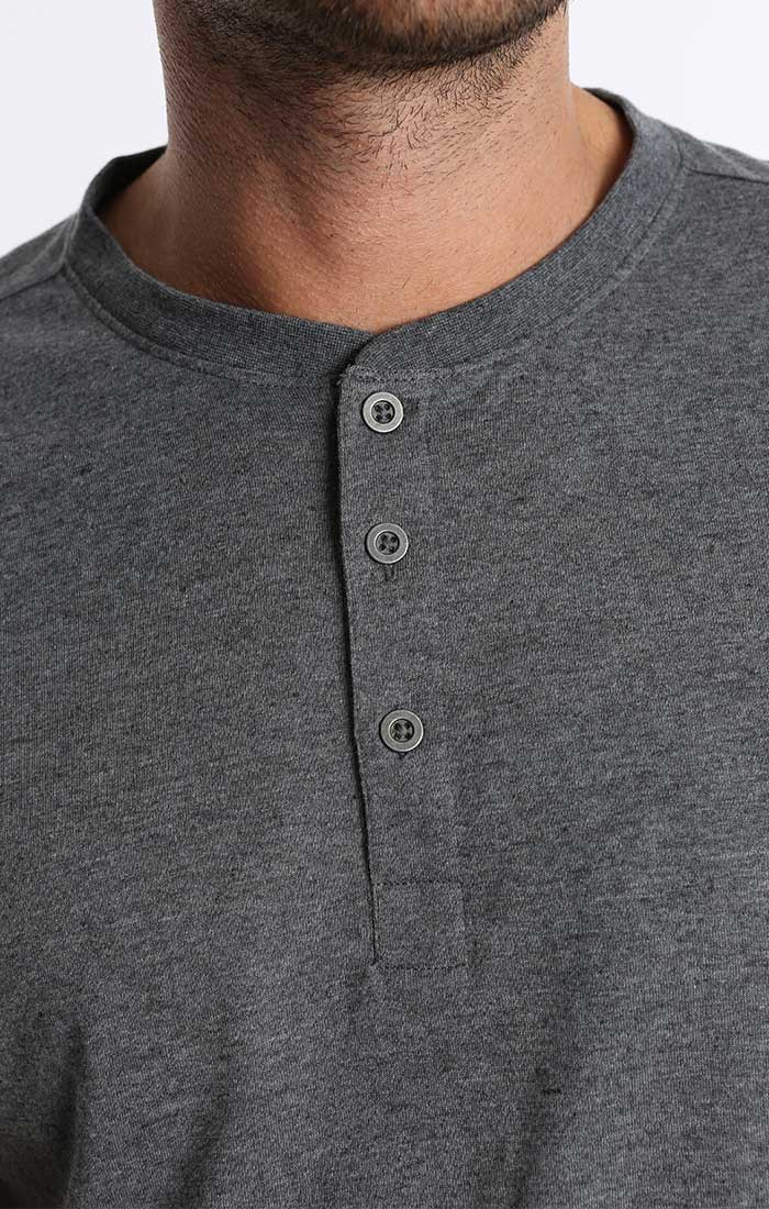 Charcoal Linen TriBlend Short Sleeve Henley