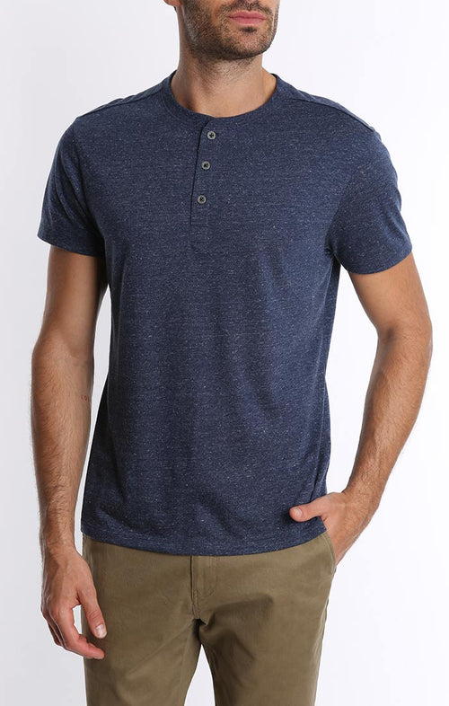 Navy Linen TriBlend Short Sleeve Henley