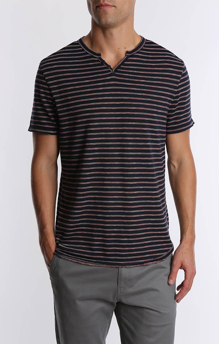 Striped Split V Tee - jachs