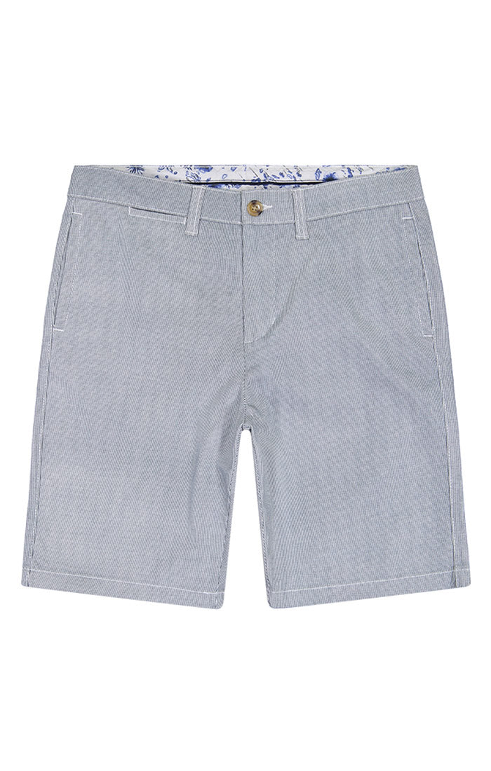 Grey Stripe Stretch Twill Chino Short - jachs