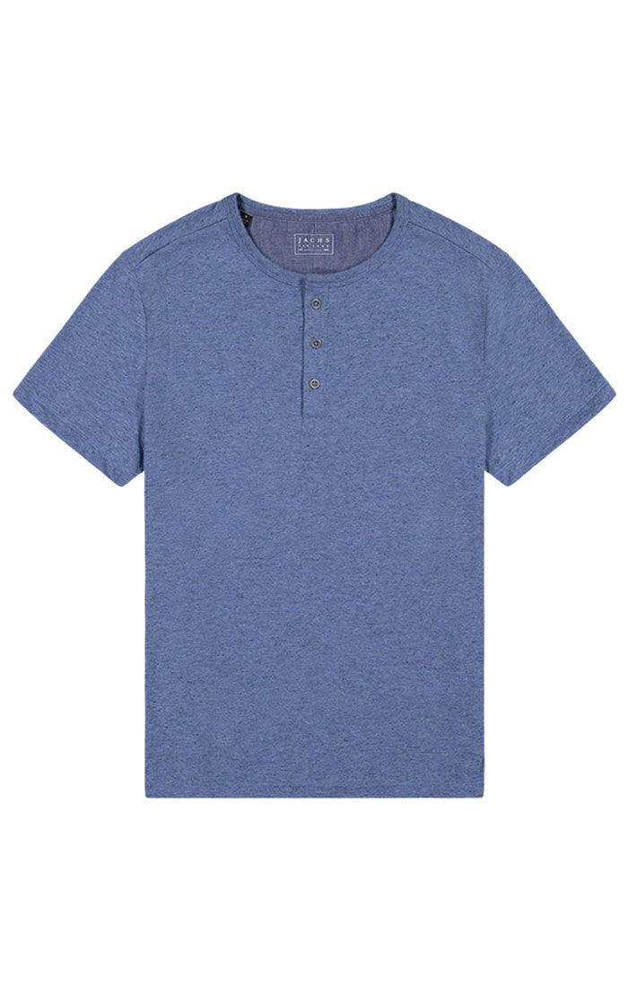 Blue Heathered Linen Triblend Short Sleeve Henley