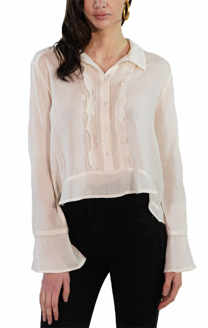 Ivory Cropped Sheer Ruffle Placket Blouse