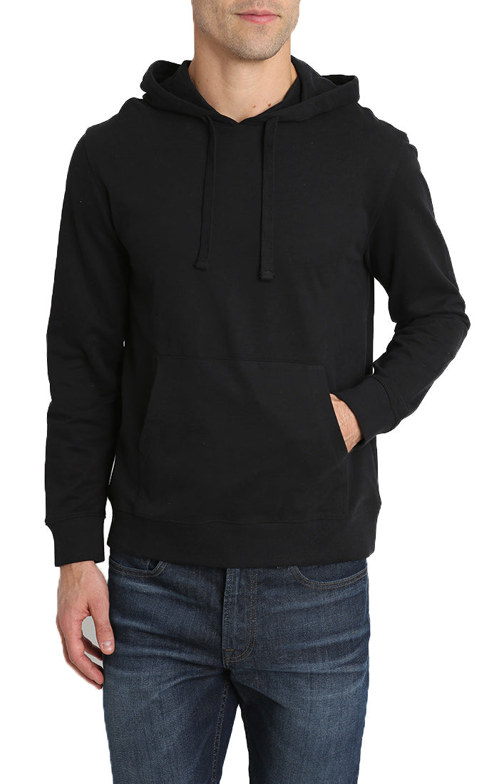 Jet Black French Terry Pullover Hoodie