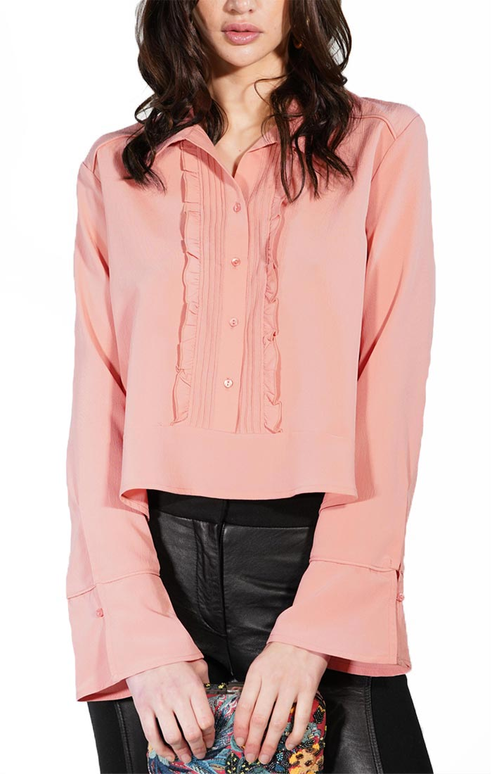 Pink Cropped Ruffle Placket Blouse - jachs