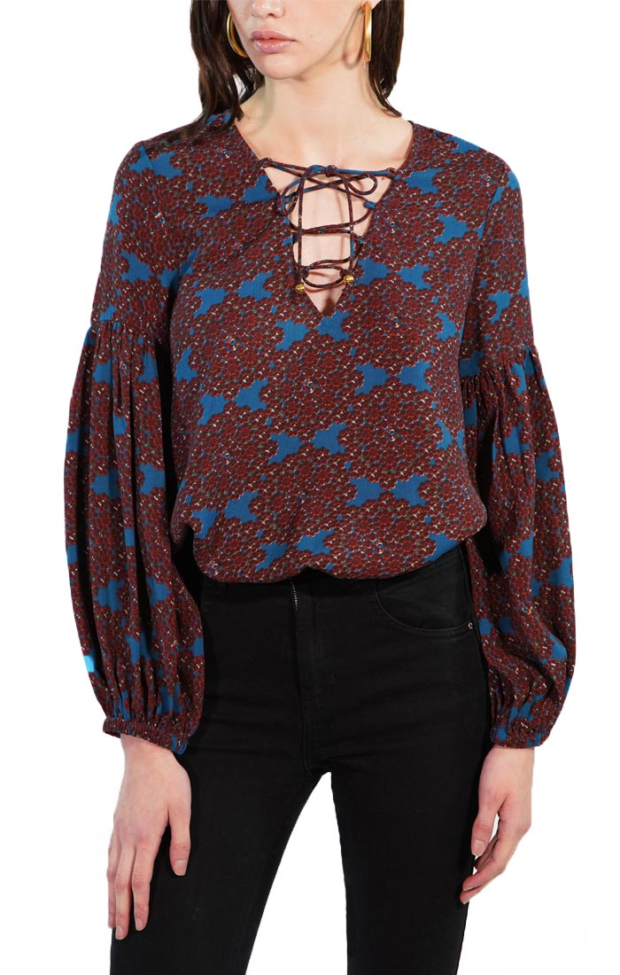 Blue Printed Tie Up Bodysuit with Peasant Sleeves