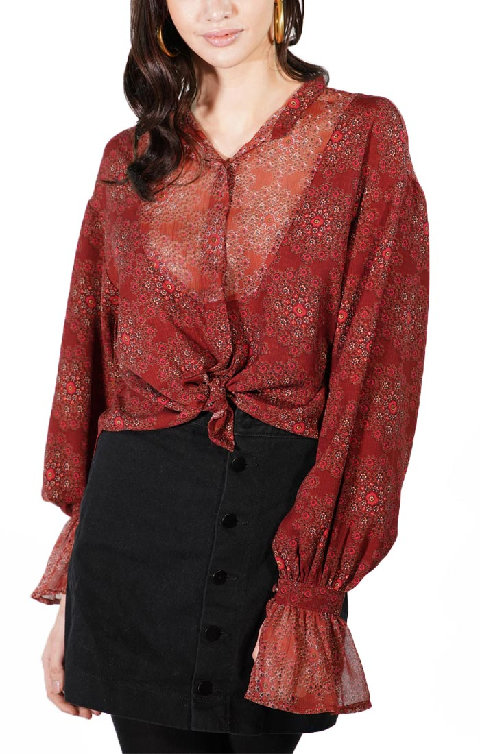 Printed Button Back Shirt  with Peasant Sleeves