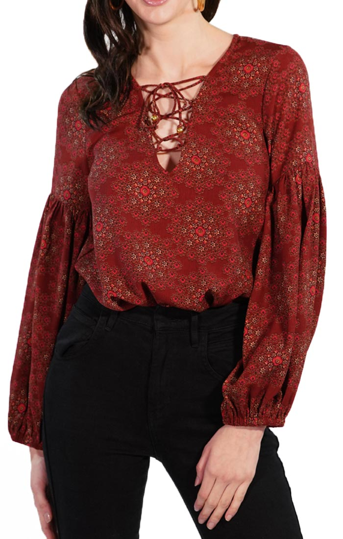 Red Tie Up Bodysuit with Peasant Sleeves